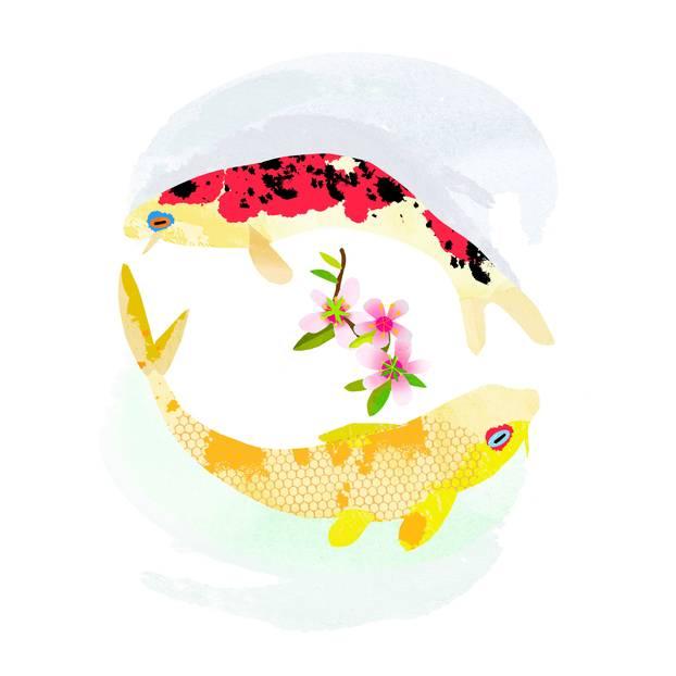 Jahreshoroskop Fische: Zwei gemalte Fische