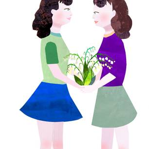 Jahreshoroskop Zwillinge: Gemalte Zwillinge, die sich gegenüber stehen