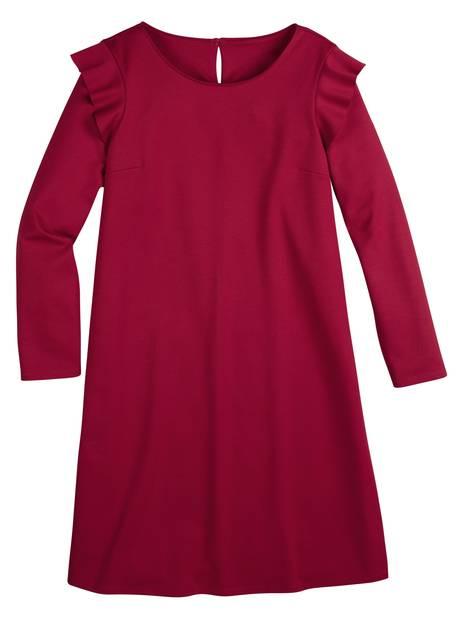Rotes Kleid mit Volant an der Schulter,14,99 Euro.