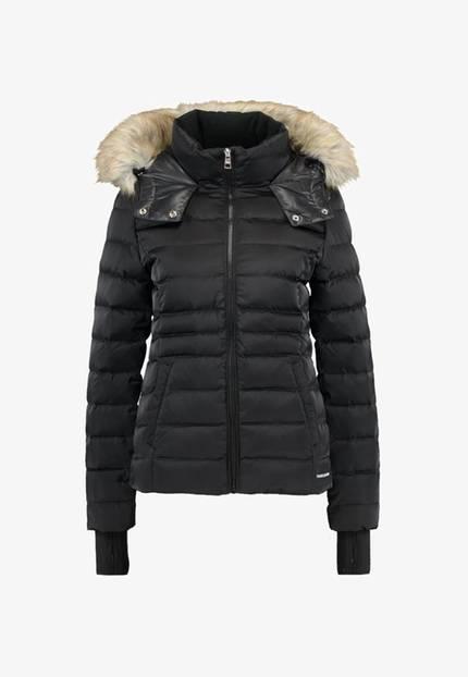 Winterjacke: Schwarze Winterjacke mit Fell-Imitat von Calvin Klein Jeans