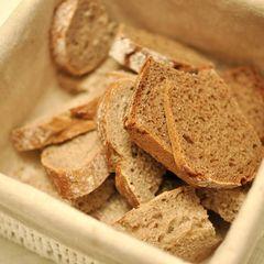 Brotkorb nähen: Brotkorb mit Brotscheiben
