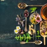 Klostermedizin: verschiedene Kräuter auf einem Tisch