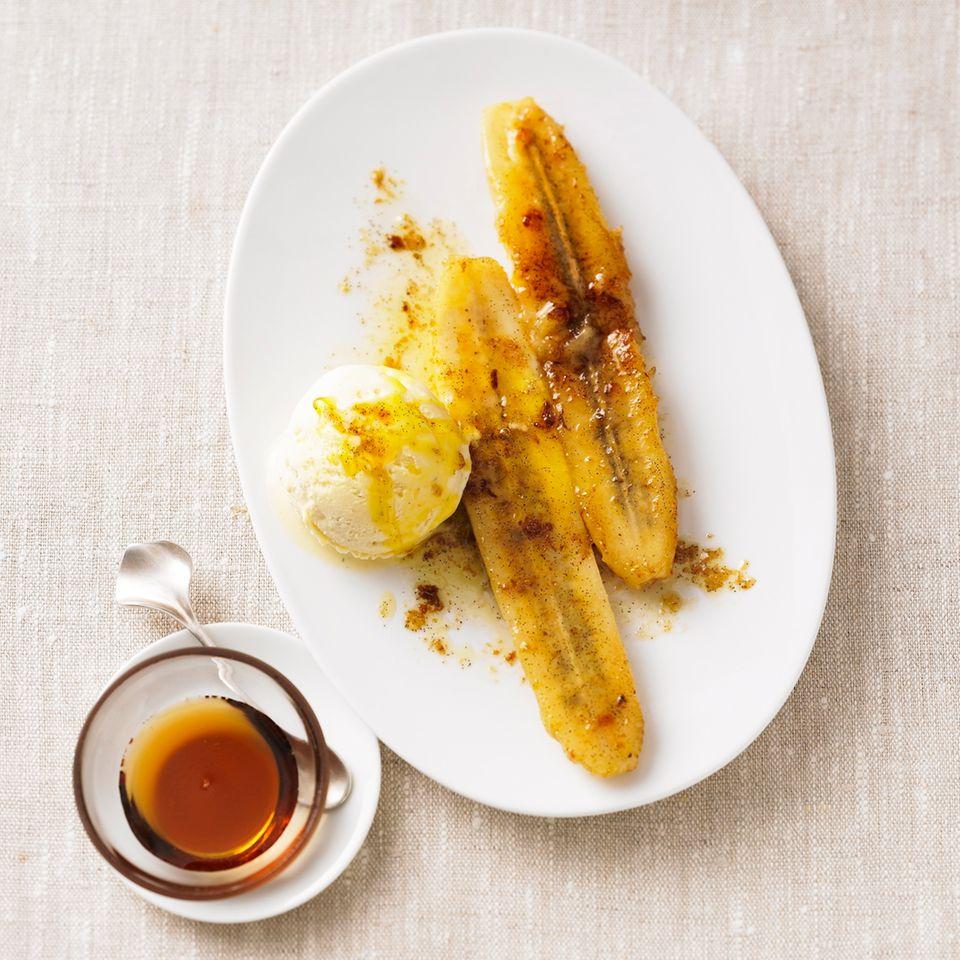 Gebratene Banane mit Ahornsirup