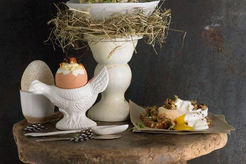 Pochiertes Ei mit Krabben