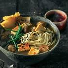 Ramen mit Pilzen, Tofu und Kimchi