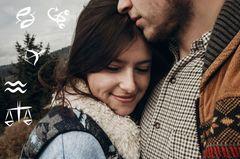 Wie reagieren die Sternzeichen auf Beziehungsprobleme? Eine glückliche Frau in den Armen eines nachdenklichen Mannes