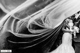Hochzeitsfotos 2019: Die schönsten Bilder: Bräutigam küsst seine Braut hinter ihrem riesigen Schleier