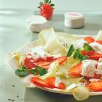 Kohlrabi und Erdbeeren mit Ziegenfrischkäse