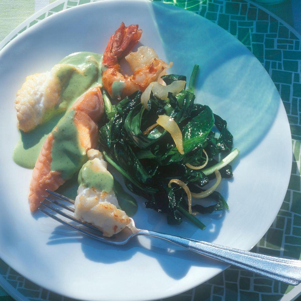 Bärlauchgemüse mit Fisch