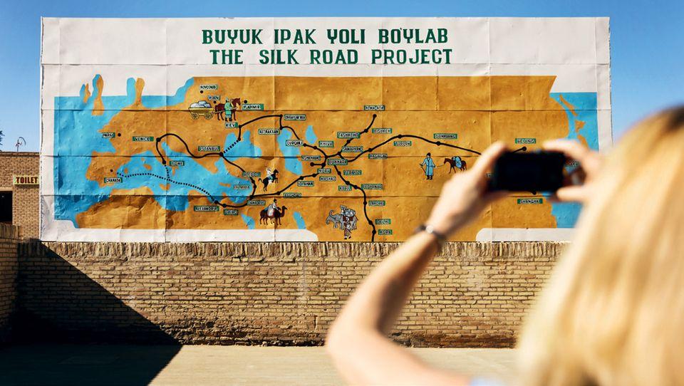 Usbekistan: Karte von Seidenstraße