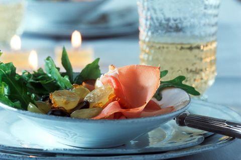 Weintraubensalat mit Schinken