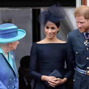 Queen Elisabeth II. mit Herzogin Meghan und Prinz Harry