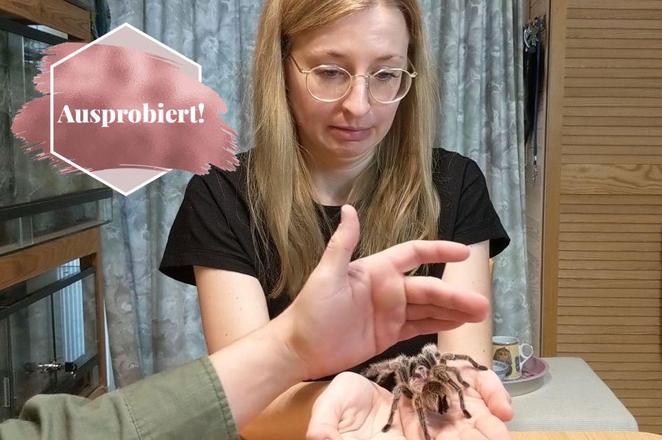 Konfrontatiostherapie bei Spinnenangst: Frau mit Spinne auf der Hand