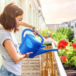 Balkon bepflanzen: Frau gießt Balkonpflanzen