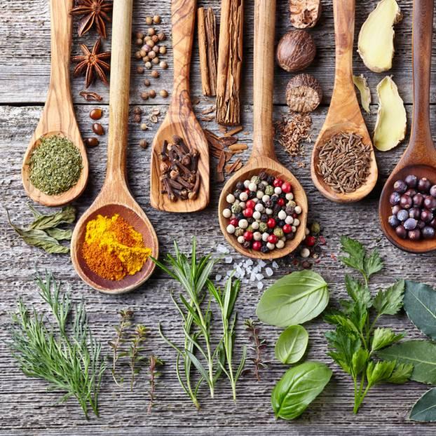Salzersatz: 9 natürliche Alternativen zu Salz: Verschiedene Kräuter und Gewürze auf Löffeln angerichtet