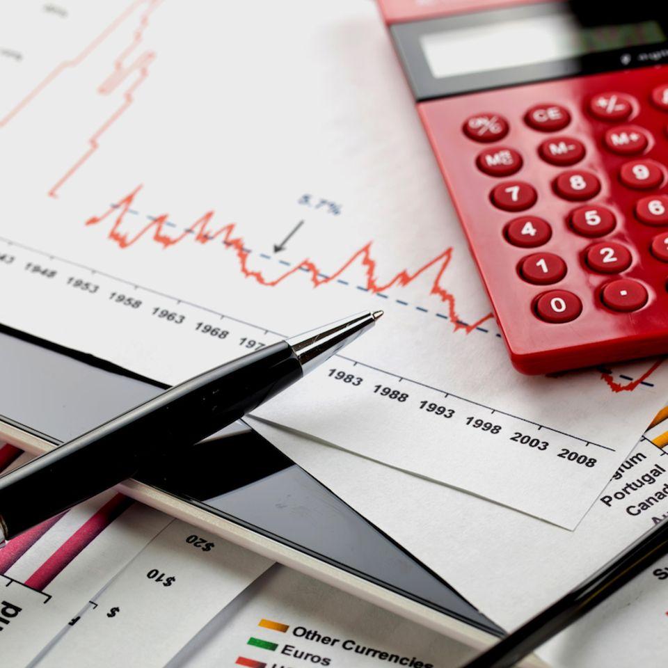 Musterdepot: Taschenrechner + Aktienkurs