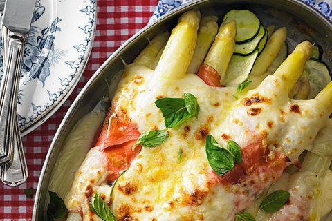 Spargelauflauf mit Fontina-Käse
