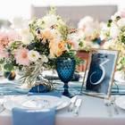 Tischdeko Hochzeit: Ideen und Tipps: Hochzeitstafel mit Blumen, Tischnummer und Geschirr
