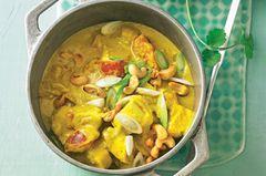 Hähnchen-Cashew-Eintopf mit Reis