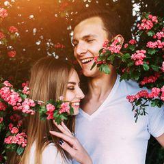 Eheversprechen: praktische Tipps und Beispiele: Pärchen unter Baum mit Blüten und umarmt sich