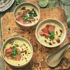 Kartoffel-Kräuter-Rahmsuppe mit Pastrami