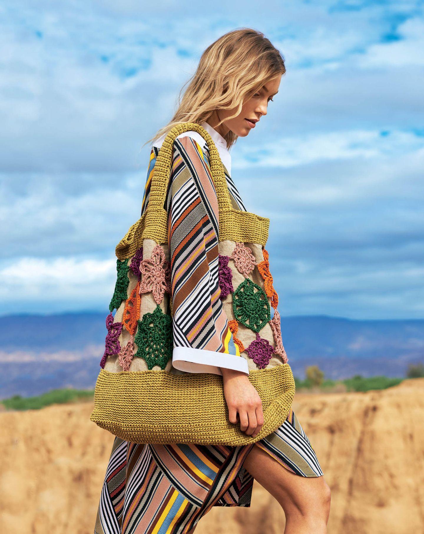 Häkelideen und Strickideen für den Sommer - Blütentasche