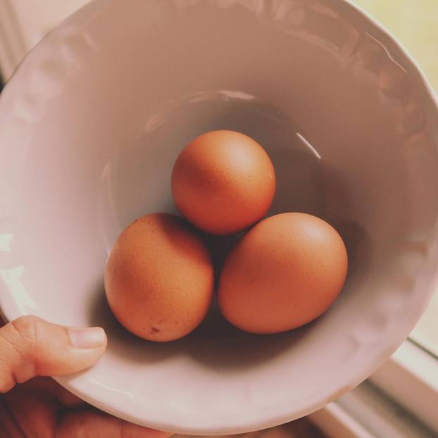 Egg test: This is how the freshness test for eggs works: three eggs are in a porcelain bowl
