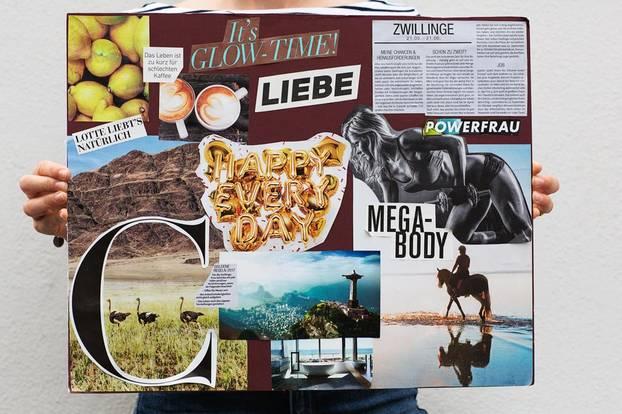 Moodboard: Sprüche und Bilder an Pinnwand
