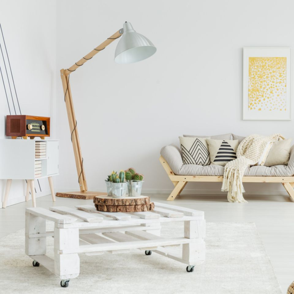 Palettenmöbel: Inspiration für Garten und Wohnung: Wohnzimmer mit Sofa, Stehlampe und Palettentisch