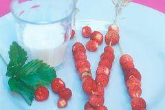 Erdbeerspieße mit Zitronengras-Honig-Milch