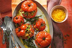 Tempeh-Tomaten mit Mango-Chili-Salsa