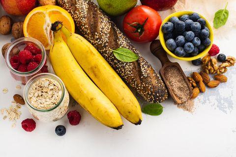 Sattmacher: Gesunde Lebensmittel nebeneinander gereiht
