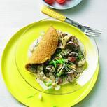 Omelett mit Rahm-Champignons