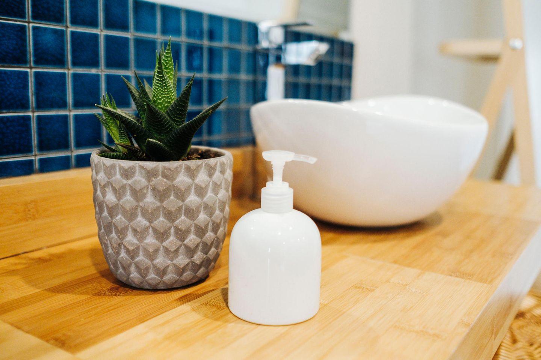 Pflanzen fürs Bad: Zimmerpflanze neben dem Waschbecken