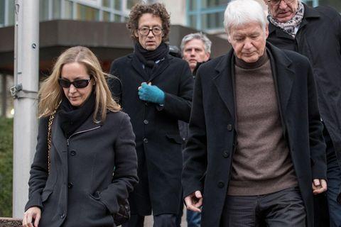 Anton Schlecker und seine Kinder, Meike Schlecker und Lars Schlecker, verlassen im November 2017 das Landgericht Stuttgart.