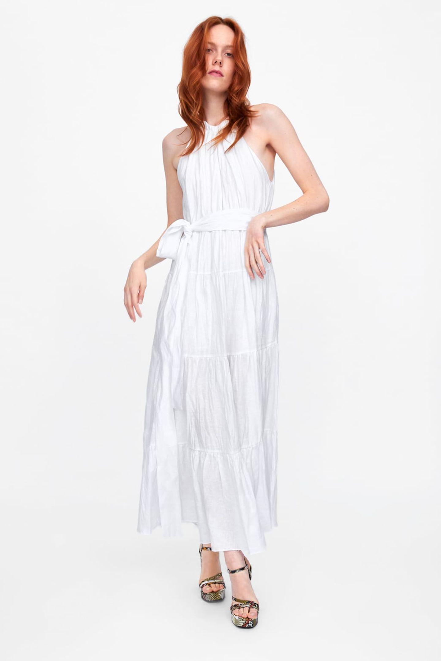 Weiße Frühlingskleider: Maxi-Kleid aus Leinen