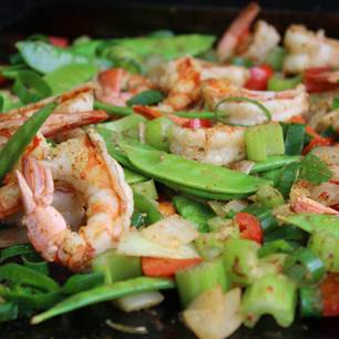 Cajun-Shrimps-Pfanne