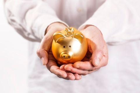 Ein Sparschwein in Gold.
