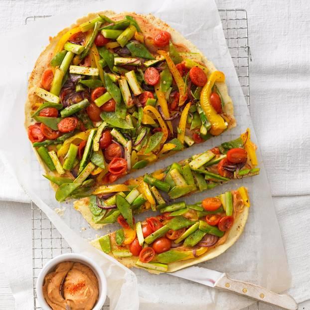 Tarte mit gegrilltem Gemüse und Linsenpaste