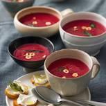 Rote-Bete-Balsamico-Suppe mit Ziegenkäse-Crostini