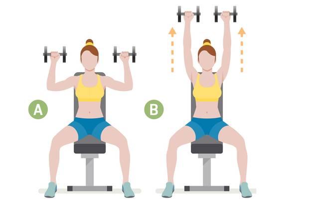 Frau macht die Übung Schulterdrücken