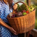 Rohkost Frau mit Korb voll Gemüse in der Hand