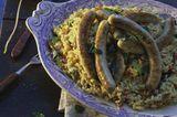 Gemüse-Risotto mit Schweinswürsten