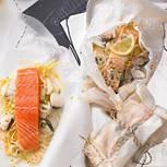 Lachspäckchen mit Estragon-Wermut-Soße