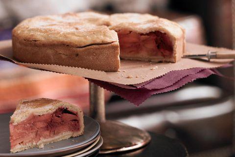 Warmer Apple-Pie mit Himbeeren