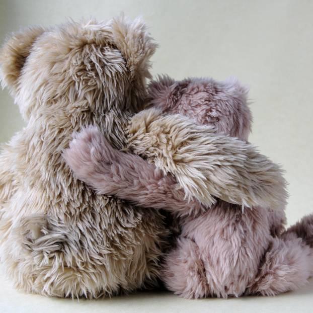 Wie verletzt man andere, ohne es zu wollen? Zwei Teddys Arm in Arm