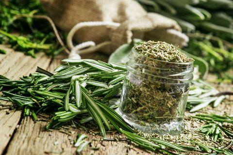 Rosmarin trocknen: Tipps und Tricks zum Haltbarmachen: Rosmarinnadeln neben getrocknetem Rosmarin im Glas