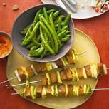 Seitan-Grillspieße mit Bohnensalat