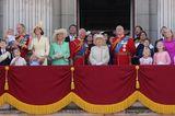 Trooping the Colour: Die Royal Family auf dem Balkon des Buckingham Palastes