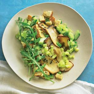 Brot-Salat mit Kräuterseitlingen